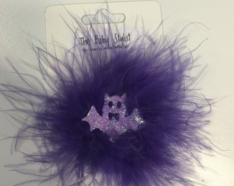 Sparkly bat feather poof barrette
