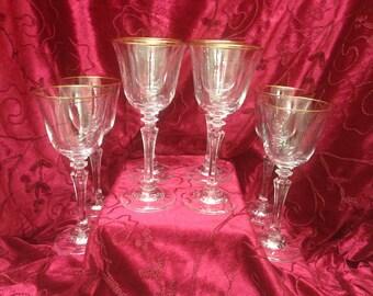 Crystal Gold Rimmed Wine Glasses, Crystal Sherry Glasses