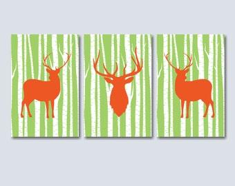 Deer Nursery Wall Art, Orange Deer Wall Art, Green Orange Deer Art,Deer Antler Wall Art,Deer Nursery Decorations-UNFRAMED Set of 3