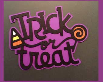 Trick or treat Halloween scrapbook title. Free Shipping!!!