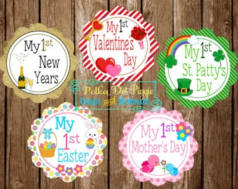 My First Holidays Baby 1st Milestone Clothing Stickers