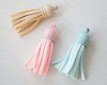 Faux Suede Tassel Pendant with Plastic Cap - Baby Colors Blue Beige Pink 40mm x 10mm - Costume Lolita Fashion Retro Accessories Craft