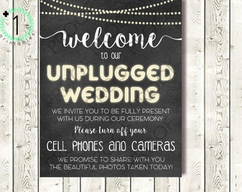 DIY Printable INSTANT DOWNLOAD - Digital Download - Unplugged Wedding Sign - Rustic Chalkboard with Lights No Cell Phones and Cameras - 8X10