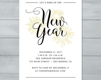 New Year's Eve Party Invitation  |  New Year's Party Invite  |  Let's Ring In The New Year Invitation