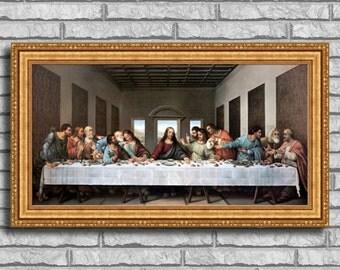 "Leonardo da Vinci ""The Last Supper"" Framed Canvas Giclee Print (MD535-01 Gold Finish) - Free Shipping"
