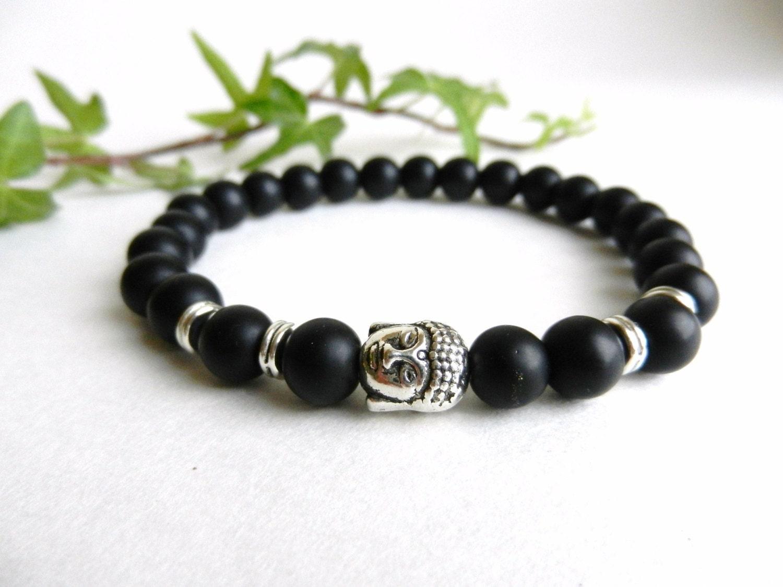 mens bracelet matte black onyx bead bracelet buddha