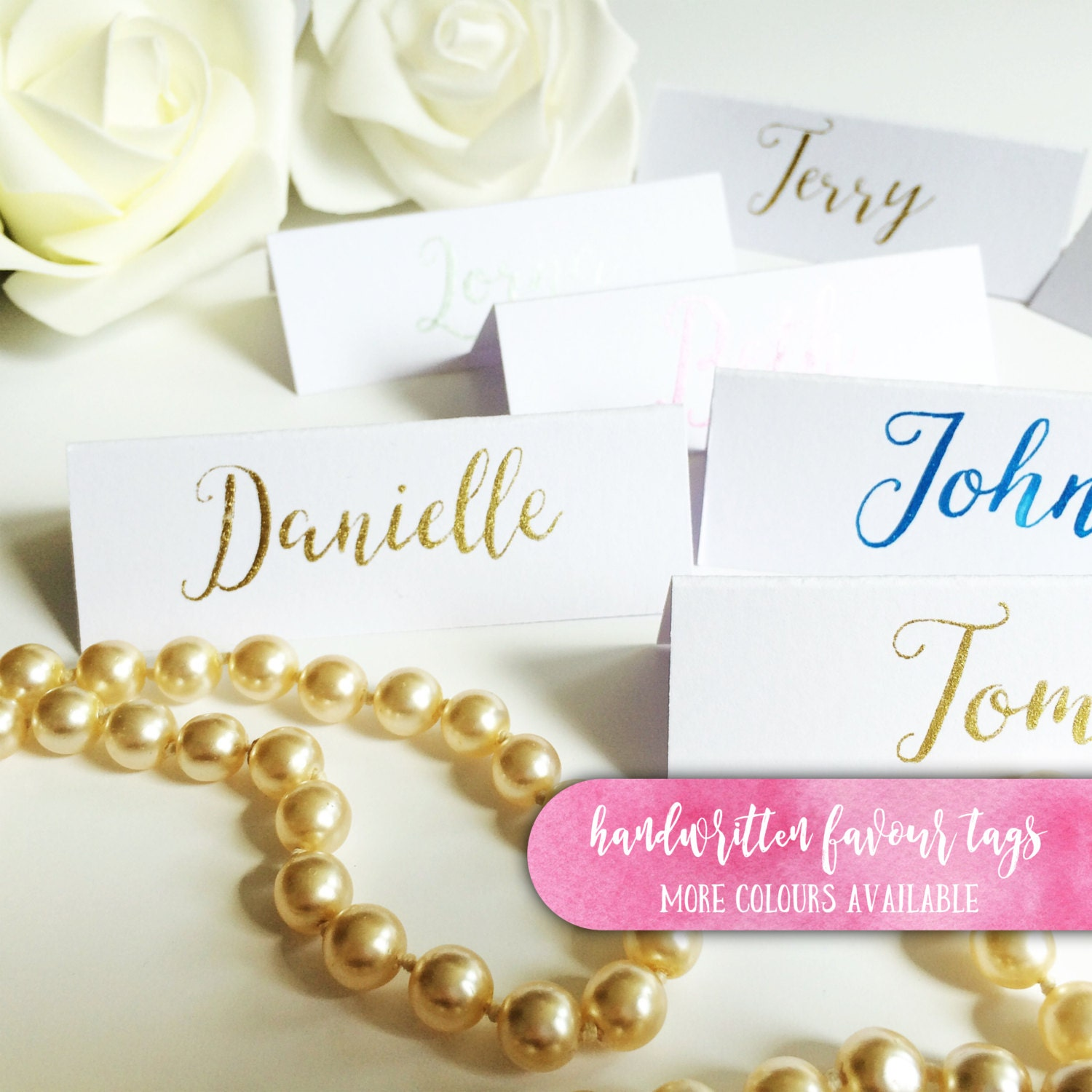 Calligraphy Place Cards Gold Name Tents By Loveletteredbybekki