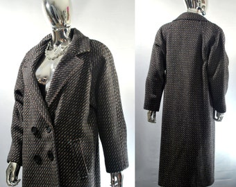 Women's Long Wool Coat | Vintage Lined, Gray ILGWU Union Made In USA Winter Jacket | Ladies Double Breasted Maxi Coat. Size 44 Chest Striped