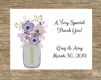 100 Personalized Printed Purple Floral Mason Jar Wedding Thank You Cards with Envelopes