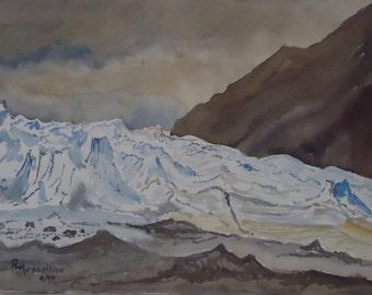 Watercolor Painting Matanuska Glacier Alaska R. Hesseltine 1995 Listed Northwest Artist Climate Change History