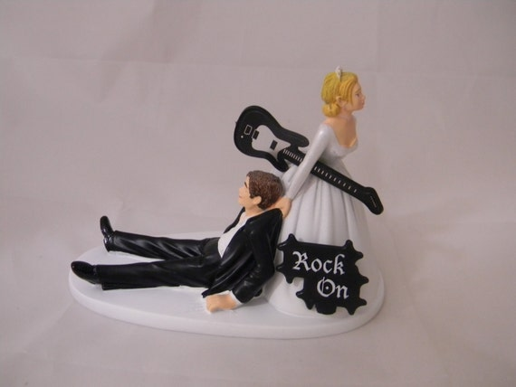 wedding cake topper groom playing guitar wedding reception rock amp roll band black 26331