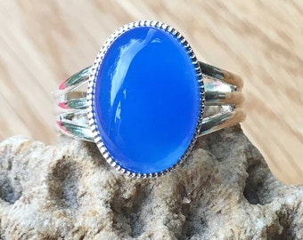 Womens Ring Gemstone Ring Adjustable Blue Onyx Ring Silver Ring Silver Plated Ring Womens Ring Womens Jewellery Womens Accessories For Her