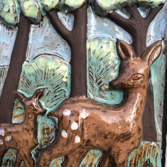 retro ceramic plaque tile relief wallhanging deer forest. Black Bedroom Furniture Sets. Home Design Ideas