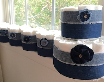 Denim Baby Shower Diaper Cake Centerpieces.  Diapers for the Mom-to-Be!