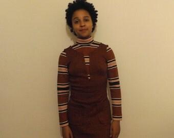 vintage 60s mod laura lee orange shift dress 8 10 small