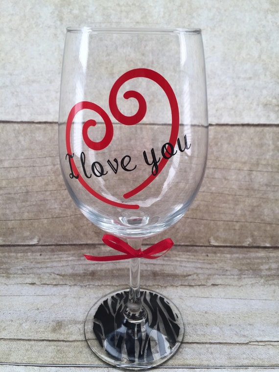 what a cute valentines wine glass can change the verbiage on glass to be a name or any other staying vinyl color will be as shown - Valentine Wine Glasses