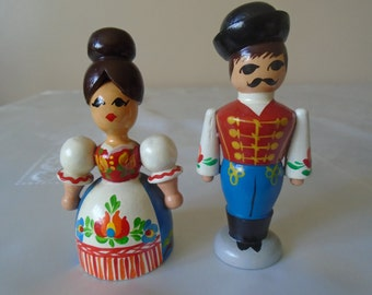 wooden hand painted costume figures x 2