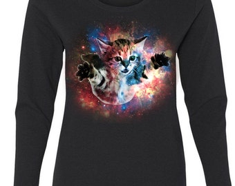Funny Floating cat in space- Woman's Long Sleeve