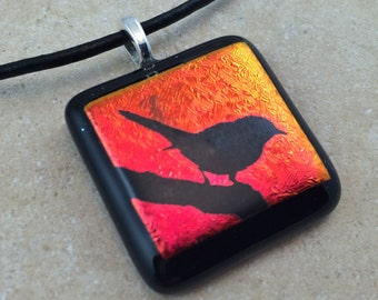 Bird Necklace, Red Dichroic, Dichroic Pendant, Fused Glass Jewelry, Dichroic Glass Jewelry, Dichroic Pendant Necklace - HEA343