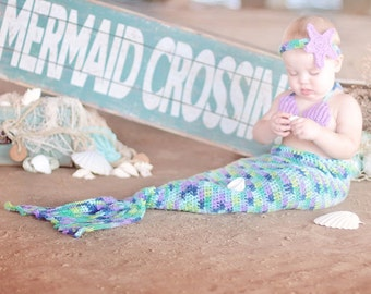 Mermaid outfit toddler, crochet mermaid outfit for baby girl, toddler girl, costume, photo prop