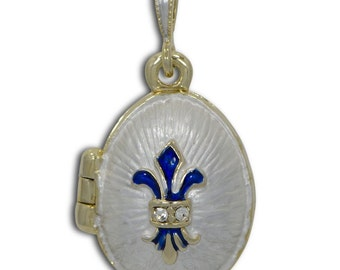 "White Enamel Fleur de Lis Royal Egg Pendant Necklace 19""- SKU # PD09-24-necklace"