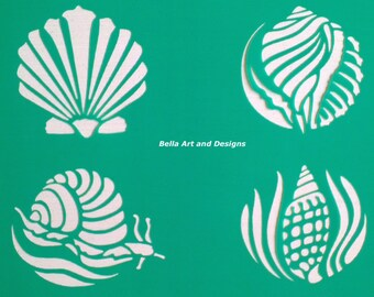 List 4 Assorted Ocean and Seashell Stencils  *Free gift with every order*
