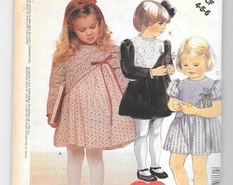 Vtg 1980s McCalls 3333 Toddlers or Girls Dress Sewing Pattern Size 4 5 6 Chest 23 to 25 UNCUT