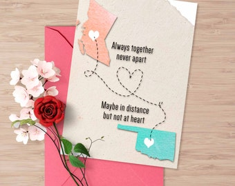 Custom Design Valentines card, long distance love card, long distance relationship, anniversary card, valentine's card for her, card for him