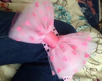 Pink Heart tulle bow headband
