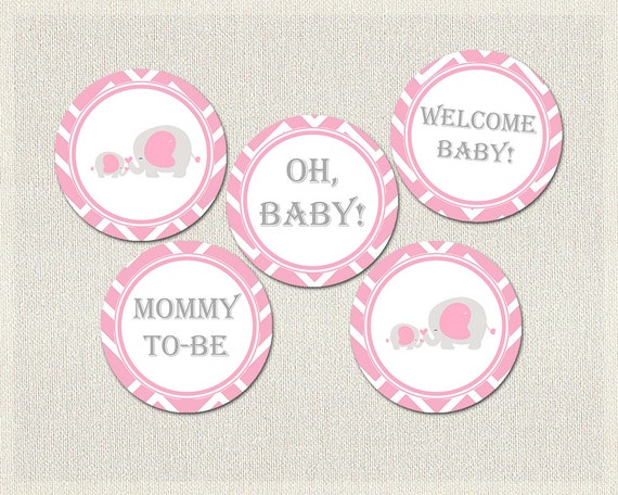 Baby shower cupcake toppers girls pink gray elephant theme for Baby shower decoration templates