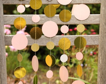 pink and gold party, princess party, first birthday decor, baby shower, bridal shower decor, pink gold garland, gold and pink, pink garland