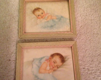 Super cute pair of petite vintage baby pictures
