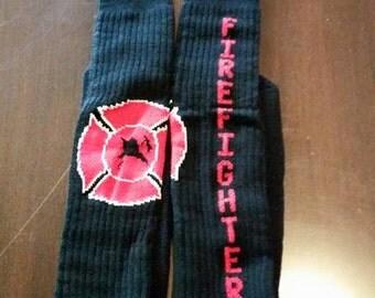 Black Red Firefighter knee high tube socks
