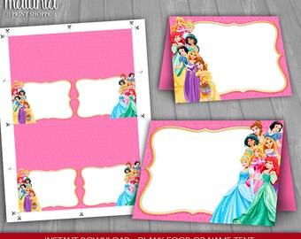Disney Princess Food Tents - INSTANT DOWNLOAD - Disney Princesses Place Cards Party Decorations - Disney Princess Blank Food Tablet tents