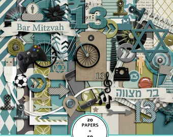 Bar Mitzvah digital scrapbook kit, Bar Mitzvah digital paper, Bar Mitzvah, star of david clip art, Bar Mitzvah clipart, Hebrew scrapbook kit
