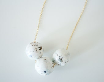 Blue and Gold Speckled Ceramic Necklace