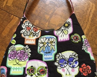 Sugar Skulls Purse, Dia de los Muertos Purse, Handmade Vegan Hand Bag,