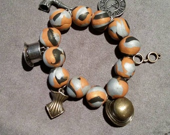 Steampunk Charm Bracelet with Polymer Clay Beads