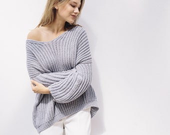 OVERSIZED PULLOVER - hand knitted chunky cotton sweater