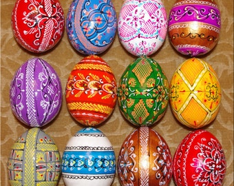 12 Hand Made Wood Pysanky Easter Eggs from Ukraine. Ukrainian Wooden Pysanka