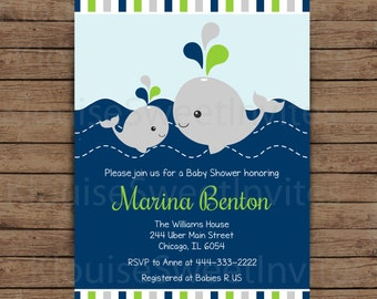 Whale invitation etsy printable green and navy blue nautical whale baby shower digital invitation jpeg 300dpi in 5 stopboris Image collections