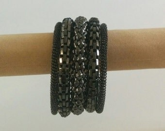 Black Spiral Metallic 5 layer Bracelet