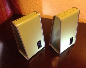 """Vintage """"Retro"""" (Art Deco Style) Metal Green Salt and Pepper Shakers"""