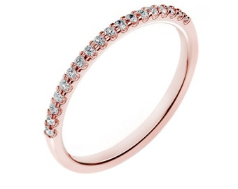 14K Rose Gold Diamond Wedding Band For Women 0.18 Carats G / SI2 Shared Prong Set  Anniversary band