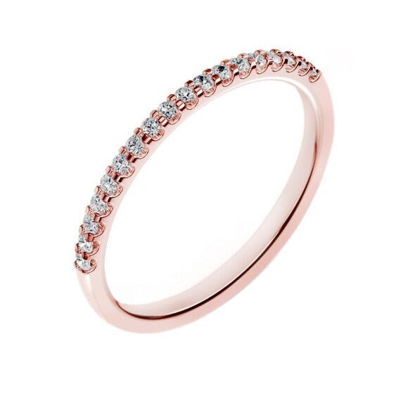 14k rose gold diamond wedding band for women carats g si2