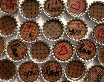 I Love You Bottle Caps-Handmade Refrigerator Magnets