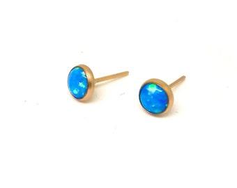 Blue Fire Opal Earrings,Stud Earrings, 14k gold filled earrings ,Blue opal earrings,Delicate stud earrings,Small Cute Studs,Hand Made Studs