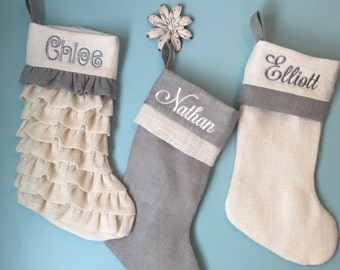 Christmas stockings, Monogrammed stockings, burlap Stockings, shabby decor, personalized stockings, unique wedding gift, bridal shower gift