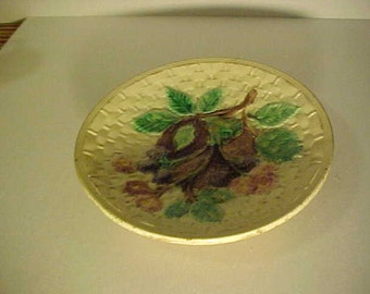Antique Majolica Etruscan Blackberry and Basketweave Plate New Price Reduction
