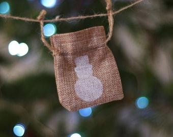 Snowman Christmas mini gift bag hessian jute burlap. Tiny gift bag. small santa sack. Stocking stuffer. Money gift bag. Jewellery gift bag